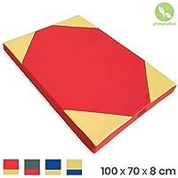 Alfombra del piso soft 100 x 70 x 8 cm Rojo/Amarillo
