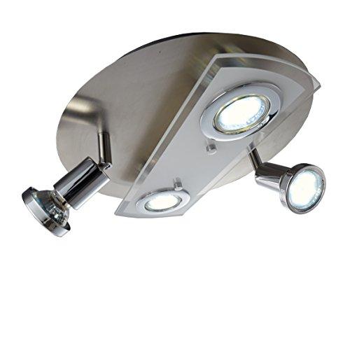 LED Deckenleuchte I Deckenlampe inkl. 4x 3W Leuchtmittel I GU10 I schwenkbar I 4 flammig rund I matt-nickel - Klassische 4-licht Bad Leuchte