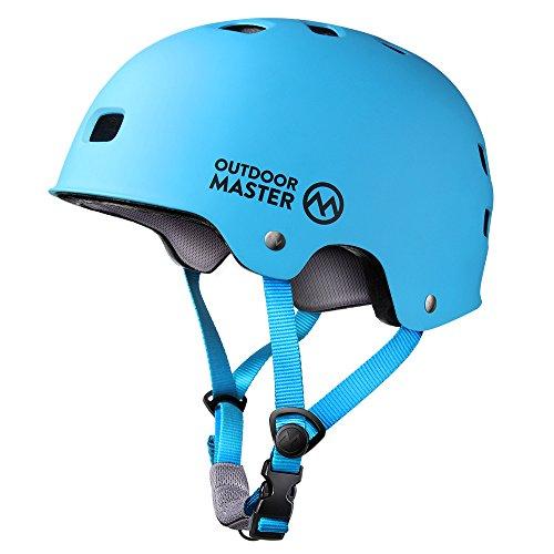 OutdoorMaster Skateboard Helm- Leichter niedriger Profil BMX Helm, Rollhelm Fahrradhelm mit Herausnehmbares Futter, Belüftungssystem mit 12 Lüftungsöffnungen - L - Blau