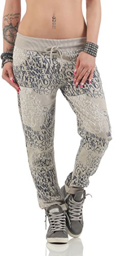 malito Sweatpants mit Schriftzug Baggy 3570 Damen One Size Beige