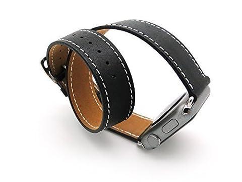 Apple Watch ArmBand - Trop Saint® Double Tour Echtes Leder Uhrenarmband mit Edelstahlschließe Bügel Uhrband Strap Wrist Band Uhr Zubehör Für Apple Watch (42mm) Edition/Sport - Schwarz