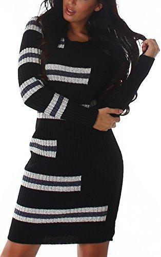 Strickkleid im Streifen-Look mit Ripp-Optik, Black