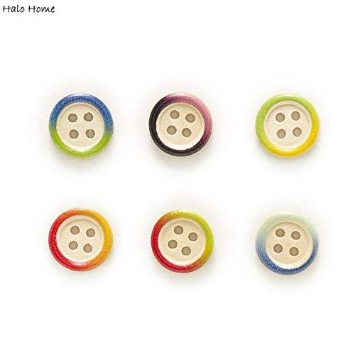 TTYAC 50 piezas de Varios Colores opcionales de 4 agujeros de Color Redondo de Madera mixta botones ropa decoración costura Scrapbooking hogar 15 mm, borde colorido