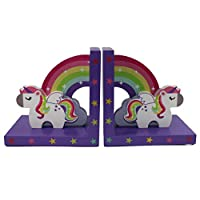 Tinkie Toys Handcrafted Wooden Rainbow Unicorn Bookends for Girls Bookshelf, Nursery or Bedroom