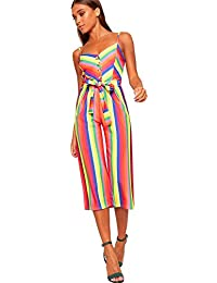 fe1300f67147 WearAll Women s Strappy Striped High Waist Wide Leg Culottes Jumpsuit  Trousers Ladies New 6-14