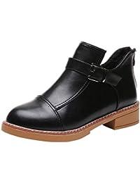 97fae8a045d82 OHQ Martin Bottes éPais avec Boucle De Ceinture à Talon Bas Rondes Femmes  Chaussures pour Enfants Noir Marron…