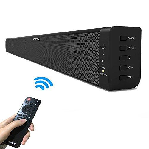 LONPOO 39-pouces Barre de son TV-haut-parleurs avec télécommande, 60W Stéréo Bass Audio, Bluetooth 4.0 sans fil et optique/coaxial/RCA/AUX sortie filaire (Noir)
