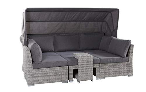 Wholesaler GmbH LC Garden Muschel-Set Loungebank Barcelona Parma White Grey