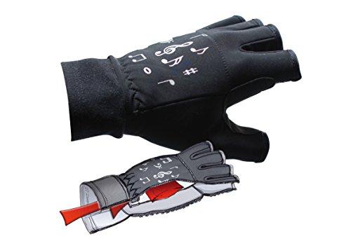 mugesh Fleece-Handschuhe Noten (ohne Fingerkuppen) mit Heizkissen L/XL - Schönes Geschenk für Musiker