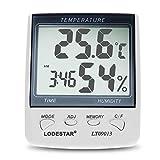Wenquan,Affichage de température de thermographe d'hygromètre d'hygrothermographe de Digital avec la Fonction d'alarme de Temps(Color:Blanc)