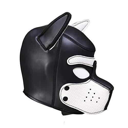 Reasoncool Sexy Spielzeuge Cosplay Rollenspiel Hund Vollkopfmaske Gepolsterte Weich Rubber Hündchen Spiel Maske Weiß