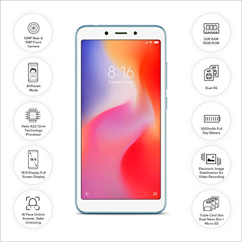[Get Discount ] Redmi 6A (Blue, 2GB RAM, 16GB Storage) 41Hk0ND0bNL