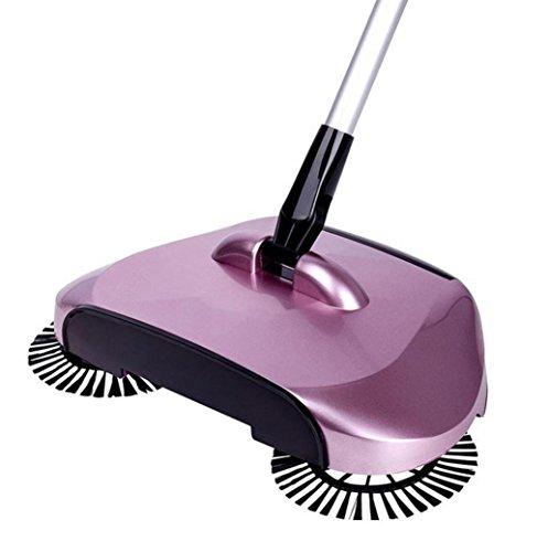 Brosse à balai à main,Dulcii poussière Sweeper domestique rotation automatique de 360 degrés plancher télescopique manuelle sans électricité (violet)