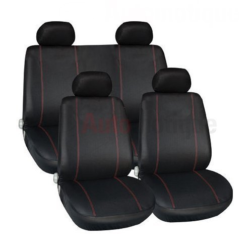 AUTOMOTIQUE RLT11201117 Premium Full Car Seat Cover Set Red Piping