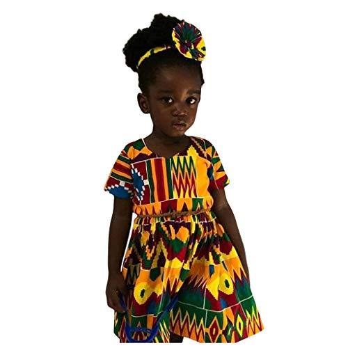 INLLADDY KostüM Kleid MäDchen Ethnischen Stil Drucken Langen Rock LäSsig PersöNlichkeit Partei Urlaub Kinderkleidung Kleider B (Ethnischen Kostüm Mädchen)