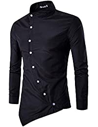 BUSIM Men's Long Sleeve Shirt Casual Irregular Slim Slim Door Stand Collar Fashion Slim Party T-Shirt Slant Buckle...