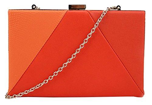 Kukubird Steph contraste panneau matériel bloc coloré couleur texture Prom Party pochette sac à main avec sac à poussière Kukubird Orange