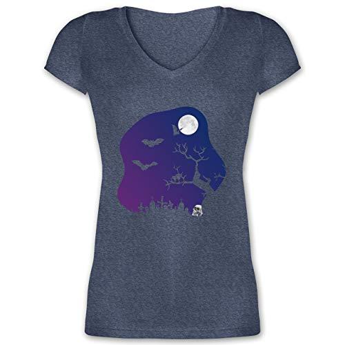 Halloween - Friedhof gruselig Totenkopf Mond - L - Dunkelblau meliert - XO1525 - Damen T-Shirt mit V-Ausschnitt