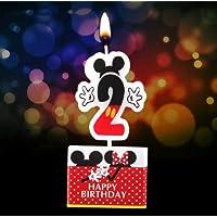 مستلزمات تزيين الكعك - 1 قطعة شمعة كرتوني عيد الميلاد ميكي ميني ماوس شمعة الذكرى السنوية كعك الأرقام 0-9 الأعمار شموع عيد ميلاد للأطفال (ميكي 2)-SA