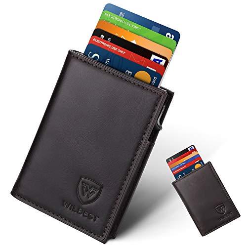 Portafoglio uomo vera pelle porta carte di credito minimalista con protezione rfid, slim automatico pop-up per carte di credito uomo (nero brunastro) portafogli piccolo sottile con confezione regalo