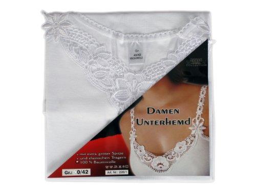 2 Qualität Damen Unterhemd mit Spitze - Träger Weiß