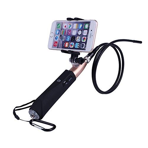 SODIAL WiFi 8 mm Handheld Endoskop Kamera der Schlange starre drahte wasserdichte Inspektion HD-Kamera fuer Android und IOS schwarz + golden (Schwarz Entlüftungsrohr)
