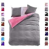 200x220 cm Bettwäsche mit 2 Kissenbezügen 80x80 Mikrofaser Weich Warm Winter Kuschelig Bettbezug Bettwäschegarnitur grau rosa grey pink Furry