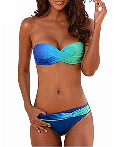 KISSLACE Bikini Damen Set Bandeau Bikini Sexy Push up Grosse Grössen Badeanzüge mit Slip Geraffte Bademode Blau+Grün S