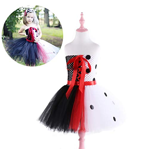 DONGBALA Halloween Prinzessinkleid, Cosplay Kleid Mädchen Party Outfit Kostüm für Fancy Dress Childrens Kids Schwarz-Weiß-Nähte (3~8 Jahre alt),XL (Fancy Mädchen Kostüm)