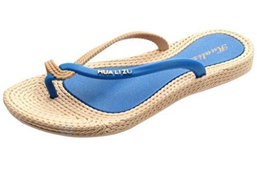 Minetom Damen Sommer Schuhe Böhmen Strand Sandelholz Thongs Slippers Flip Flops Blau