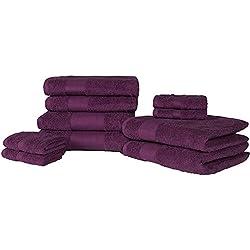 Dreamscene–lujo 100% algodón egipcio 10piezas juego de toalla de baño Set de regalo de baño de cara mano, marrón, 10unidades)