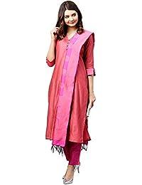 ba42572567 Jaipur Kurti Women Pink   Rani Solid Straight Chanderi Kurta with Pant  Dupatta