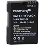 Fosmon 7.4V 1500mAh Fully Decoded Replacement Battery Nikon EN-EL14 DSLR for Nikon Camera Models COOLPIX P7000 / P7100 / P7700 / D3100 / D3200 / D5100 / D5200 - Fosmon Retail Packaging