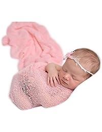Recién nacido née Chico Niña Conjuntos Bebé Fotografía Accesorios Tramo Envolver Flexible Cobija