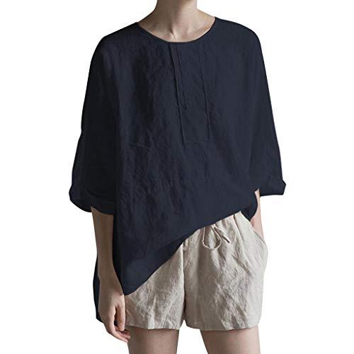 BCFUDA Bluse Frauen Freizeit O Ansatz Sommer Shirt 3/4 Hülse Baumwolle und Leinen Plus Größen Top Lose Atmungsaktiv Dünn und Leicht Strandhemd