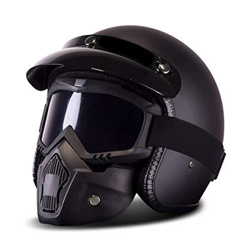 OLEEKA Casco moto Retro Vintage Moto Moto Cruiser Chopper Scooter Cafe Racer Casco 3/30 Open Face con Bubble Viso