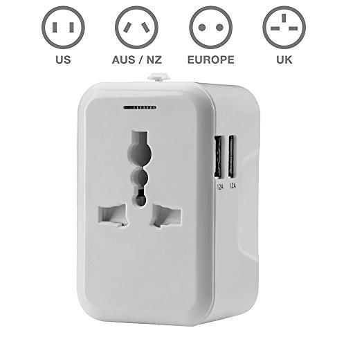 TBS®2307 Blanc Adaptateur secteur universel pour prises + chargeur avec 2 ports USB (2,4A) - Adaptateur de voyage pour prises électriques et à chargem...