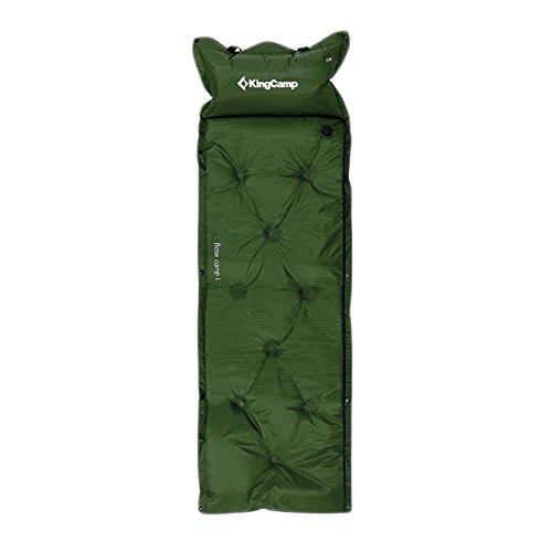 KING CAMP selbstaufblasbare Campingmatte mit Nackenstütze Basecamp (grün, L 188x155x3 cm) - Xl Isomatte