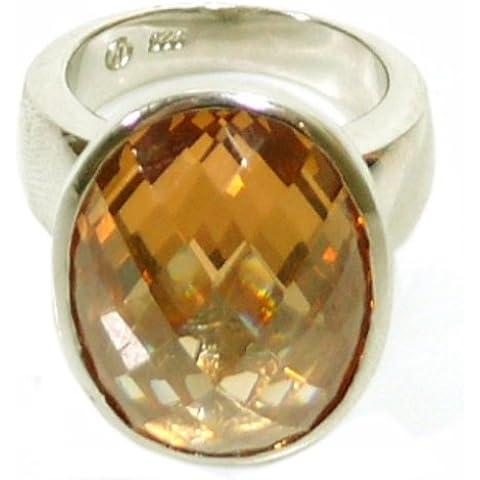 Giorgio Martello 302499550 anello da donna in acciaio Sterling-Silber 925 colore champagne zirconi 17,5 mm Dimensioni 55