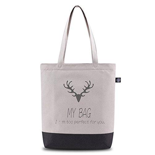 Bwiv borsa a mano di tela da donna con stampa di cervo borsa a spalla da ragazza Grigio chiaro con cervo #1 Grigio chiaro con cervo #1