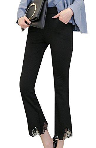 CuteRose Women's Classic Fit Tummy Control Side Slit Plain-Front Pant 1 XL (Plain Pant Khaki Front)