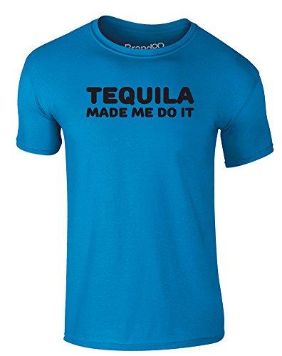 Brand88 - Tequila Made Me Do It, Erwachsene Gedrucktes T-Shirt Azurblau/Schwarz