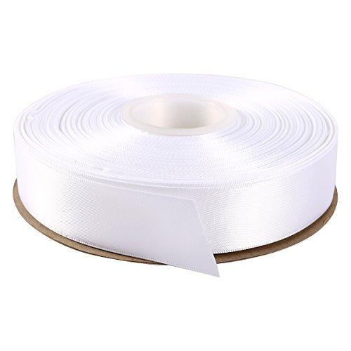 Itisparkle nastro doppio raso 25mm di larghezza x 45m per pacchetti regalo decorazione cucire feste matrimoni - bianco