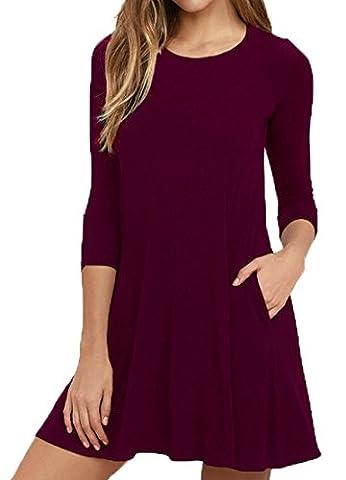 VIISHOW Herbst/Winter Damen Fashion Casual Kleid 3/4 Ärmel Mini Kleid (Weinrot M)