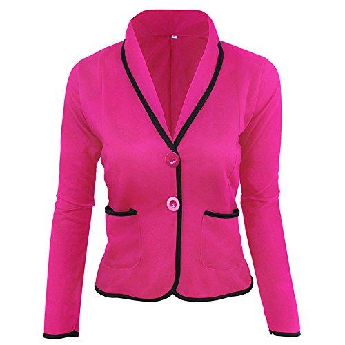 VEMOW Heißer Elegante Damen Frauen OL Business Mantel Blazer Anzug Langarm Tops Schlanke Formale Jacke Outwear Größe S-6XL(Hot pink, EU-46/CN-6XL)