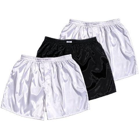 (XXL) colour blanco y negro blanco 3er Pack Boxer Short Calzoncillos para hombre ropa interior para Hombre Boxer Short de tela de satén
