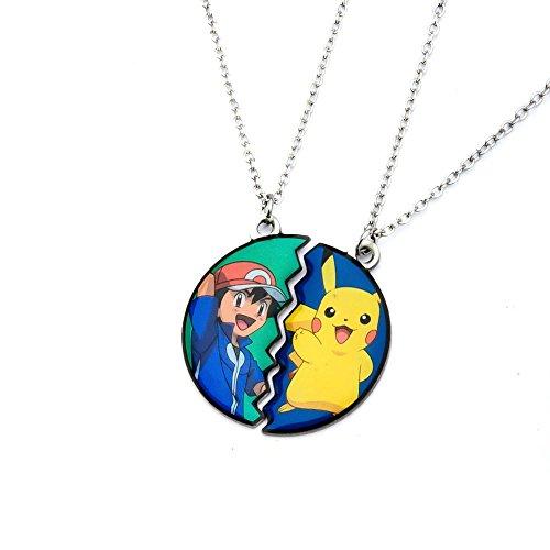 Pikachu und Ash Ketchum Freundschaft Anhänger Halskette - 2 Stück ()