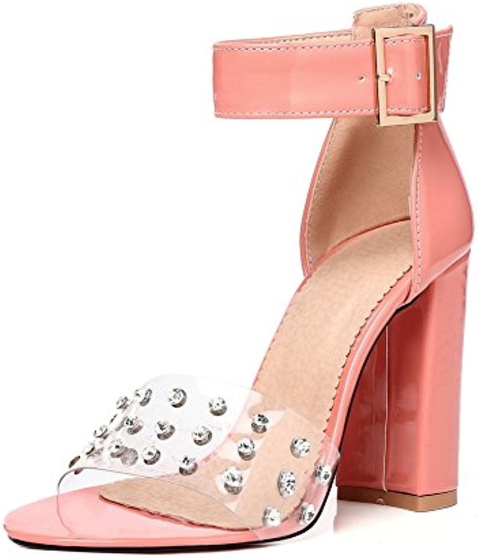 HN scarpe Donna Blocco Tacco Alto Sandali per donne rosa rosa rosa Nozze Caviglia Cinturino pvc Trasparente Festa Sera Le... | Good Design  10b083