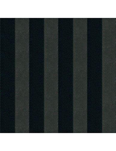 Polsterstoff Möbelstoff Bezugsstoff Meterware für Stühle, Eckbänke, etc. - Magic Design Anthrazit-Schwarz Gestreift Baumwolle Schwer entflammbar- Muster