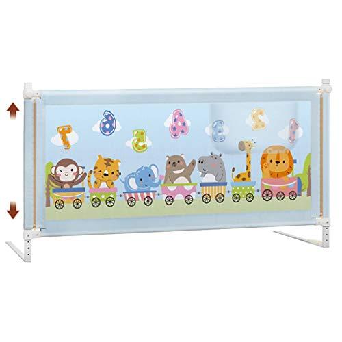 Barrera Cama- Riel de Cama Gris Extra Alto para niños pequeños, Plegable para niños Cama de bebé Riel de protección Alto 90 cm (Color : Azul, Tamaño : 1.8m)